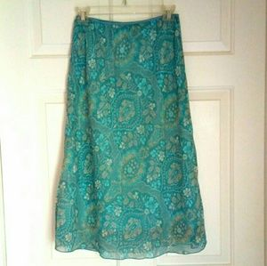 Aqua & Cream Calf Length Skirt Missy Small/Med